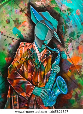 Cubist surrealism musician  painting modern abstract design