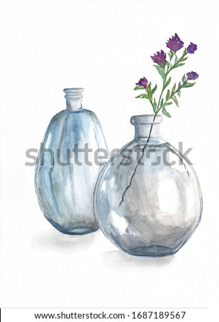 Wild flowers in glass bottle on white background, watercolor painting, still life, picture
