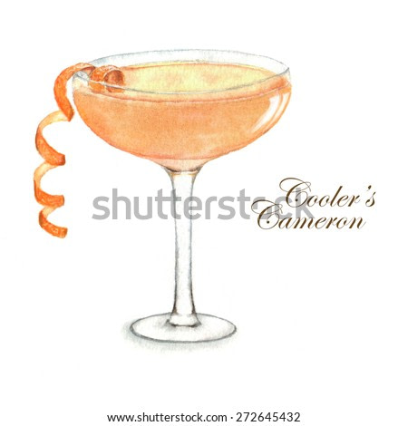 Hand drawn watercolor summer cocktail Cooler's Cameron isolated on the white background. In vector