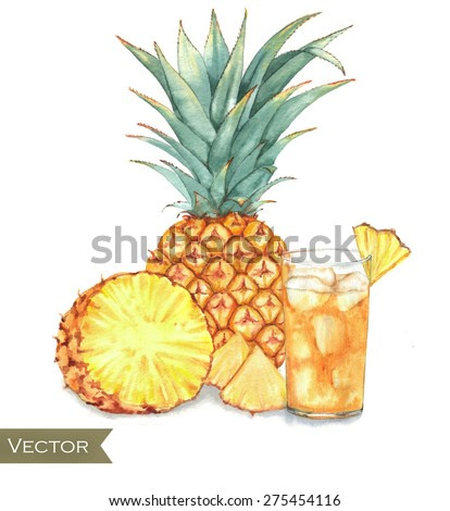 Hand drawn watercolor illustration of fresh ice juice with yellow pineapple isolated on the white background