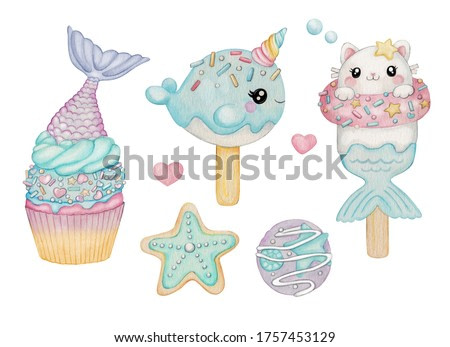 Mermaid ice cream and sweets watercolor illustration
