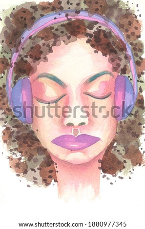 Attractive cute girl listening to music on violet headphones, female meloman listens favorite playlist