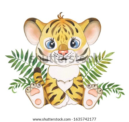 Watercolor illustration for children with a tiger cub, little tiger cub, cute tiger cub, nursery,jungle, jungle, African animal, baby cards, greetings, baby show, baby animal, baby shower