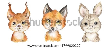 Watercolor set with forest animals. Squirrel, fox, rabbit, baby animals, woodland