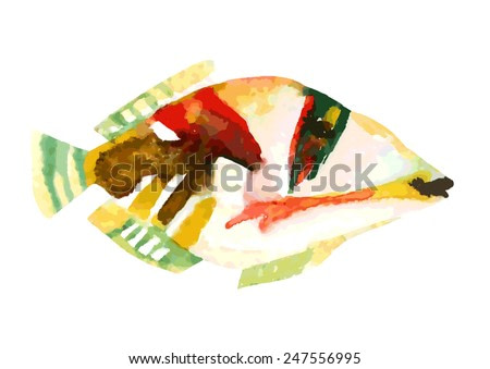 Exotic fish - tropical Picasso triggerfish. Watercolor vector illustration