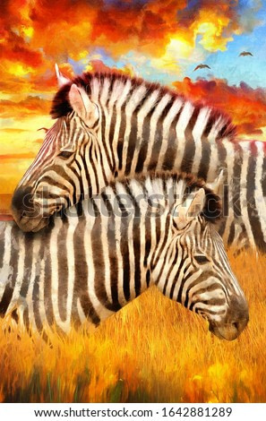 realistic modern oil painting of zebra, artist collection of animal painting for decoration and interior, canvas art, lovely couple zebra on colorful background
