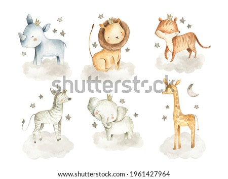 Safari animals watercolor illustration with baby elephant, lion, tiger, zebra, rhinoceros and giraffe in the clouds with stars