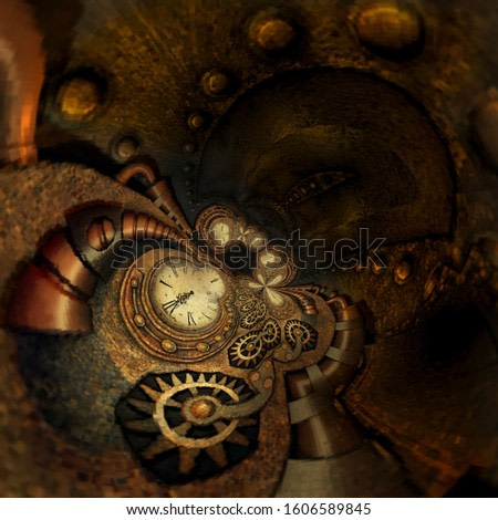 Steampunk Style Abstract Grandfather clock twisted and warped background