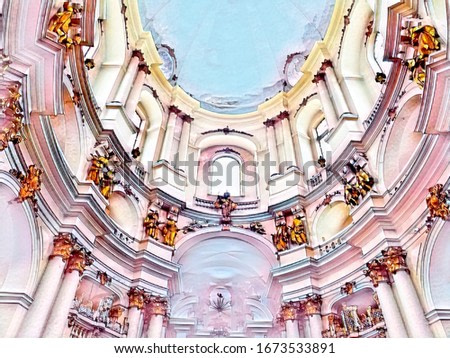 color sketch of the interior of the catholic temple