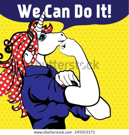 We Can Do It. Iconic woman's fist/symbol of horse power and industry. cartoon Horse with can do attitude.