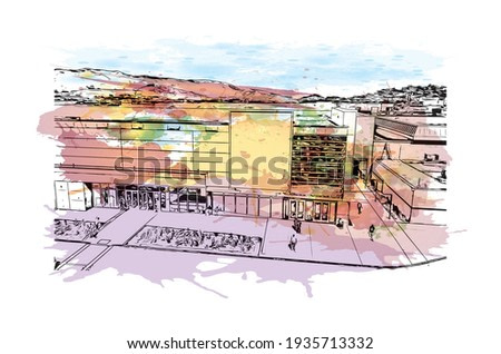 Building view with landmark of Daly City is the  city in California. Watercolour splash with hand drawn sketch illustration in vector.