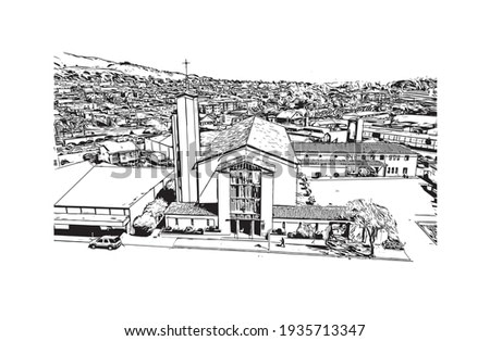 Building view with landmark of Daly City is the  city in California. Hand drawn sketch illustration in vector.