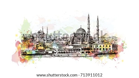 Watercolor sketch of Blue Mosque Istanbul Turkey in vector illustration.