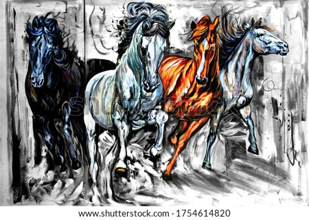 Seven Running Horses wildlife decorative pattern textured canvas acrylic artwork abstract oil painting 3D wallpaper