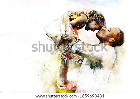 Digital watercolor painting and drawing of Happy african american Father and Daughter child girl play throws airplane enjoying active with outside house background.