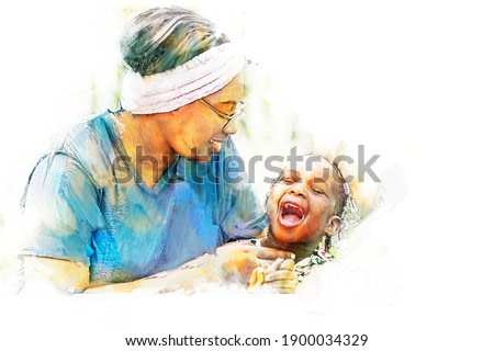 Digital painting and drawing of Portrait of Happy African mother play with daughter in outdoor garden.