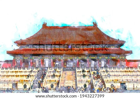 Sketch and Drawing with watercolor of Tourists visiting ancient chinese architecture. historic buildings Imperial Palace, the forbidden city with blue sky in Beijing, China