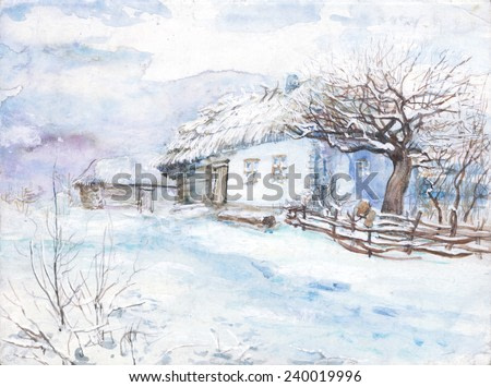watercolor painting, trees, winter house in the snow