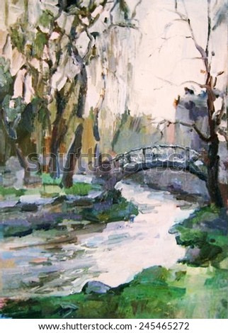 painting on canvas - bridge in the forest
