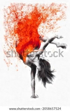 Athletic girl dancing. Image combined with an watercolor splash effects. Digital art