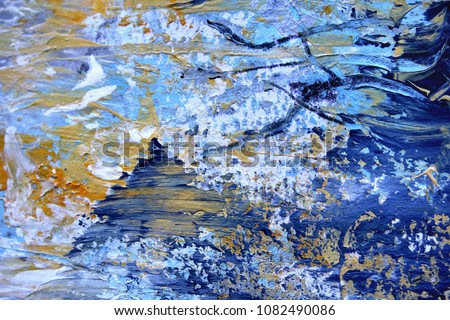 Macro Blue Gold and White Paint Textures