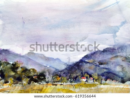 Before the rain. Beautiful landscape painting with mountains, trees and a small house under a picturesque sky in a cloudy nebulous day. Paint splashes and bright colors. Sketch etude style.