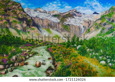 Caucasus mountains landscape, mountain valley and river