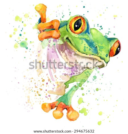 Cute frog. watercolor illustration. tropical nature. african animals. exotic wildlife.