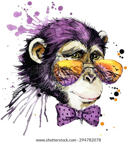 Cute monkey chimpanzee. cool watercolor illustration. african animals. exotic nature. wildlife.