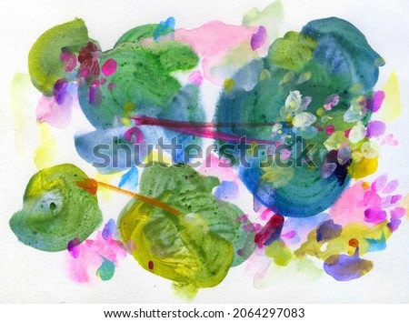 Abstract painting . Gouache and watercolors. Fantasy on the theme of water lilies in a pond.