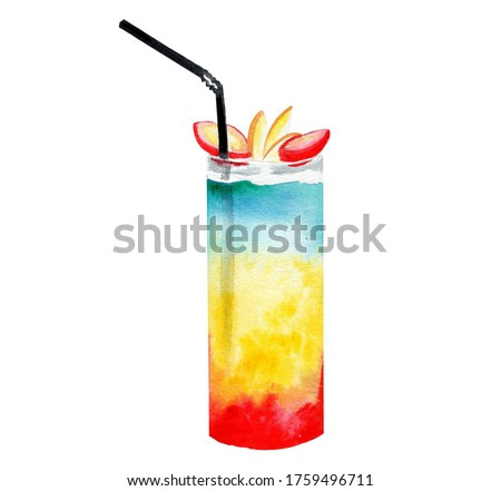 Glass of a Blue, yellow and red cocktail .Picture of a alcoholic drink.Watercolor hand drawn illustration.White background.