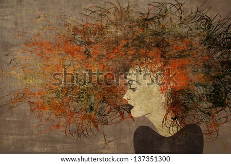 art colorful painting beautiful girl face with dark red hair on brown background