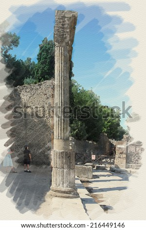 art watercolor background on paper texture with european antique town, Pompeii, Italy. Patio ruins