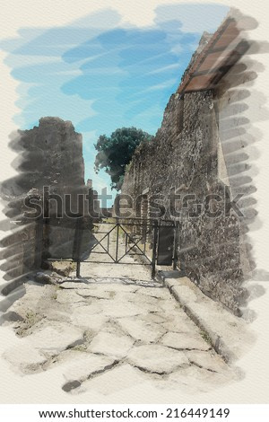 art watercolor background on paper texture with european antique town, Pompeii, Italy. Street