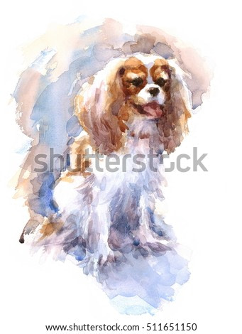 Watercolor Cavalier King Charles Spaniel Portrait - Hand Painted Illustration of Dog Pet