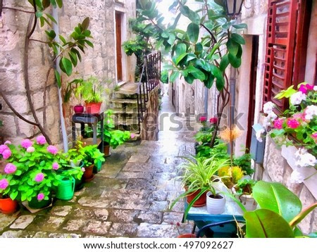 watercolor painting  of narrow cobbled streets decorated with flowers, pavement staircase rises, passes under the arches of old houses