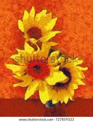 sunflower flower in small clear glass isolated on white digital painting. imitation of the style of Van Gogh