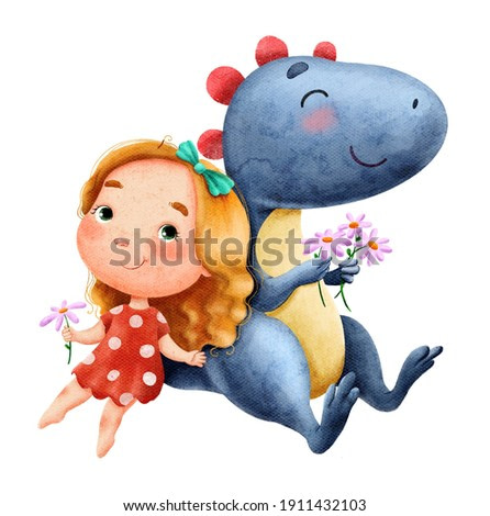 Watercolor illustration of cute blue dinosaur and little girl in red dress picking flowers