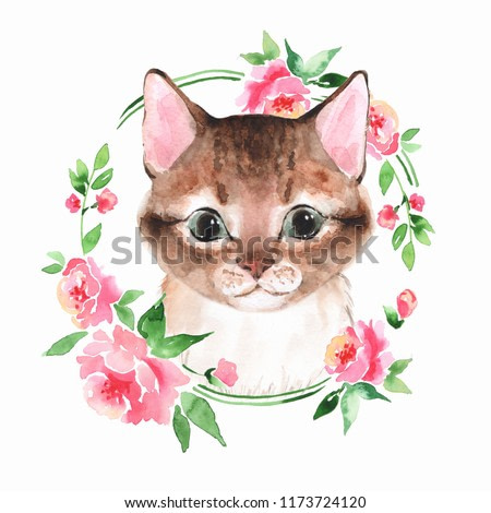 Cat. Cute kitten and flowers. Watercolor painting
