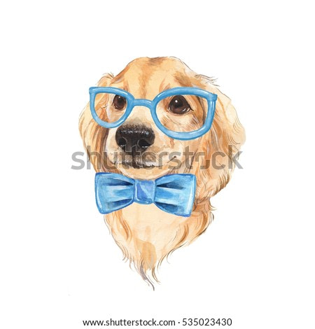 Cute dog sketch. Blue bow tie. Hand painted. Watercolor illustration.