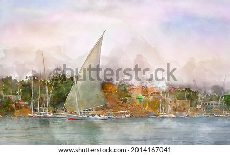Digital watercolor painting of beautiful landscape image view of Felucca Sailing om the Nile River in Aswan, Egypt.