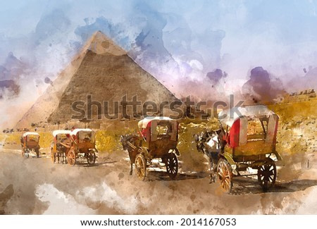 Digital watercolor painting of beautiful landscape image view of chorses and carriages in front of Great Pyramid of Giza, Egypt