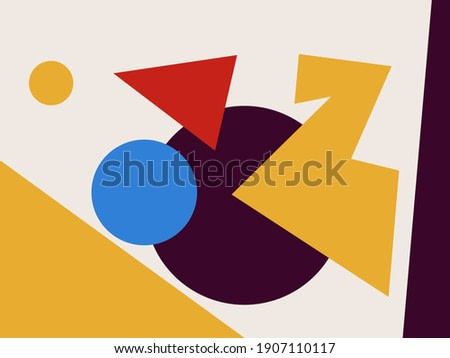 Abstract colorful shape collage. Mid-century art Trendy and minimalist modern art. For art product, print and poster. Creative Painting with blue, red and yellow. Mondrian and Bauhaus inspiring.
