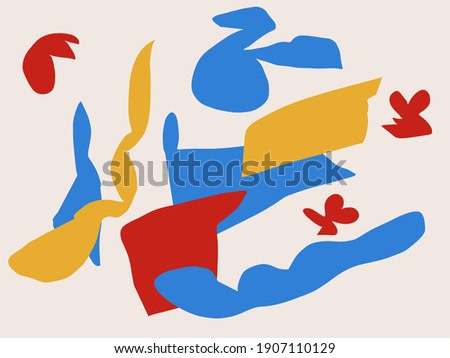 Abstract illustration art. Trendy shapes flower design. Fashion and Minimalist modern art. For print, art Product, poster and textile. Matisse and Bauhaus vibe.