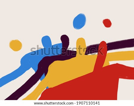 Abstract illustration art. Trendy people shapes design. Fashion and Minimalist modern art. For print, art Product, poster and textile. Abstract expressionism style.