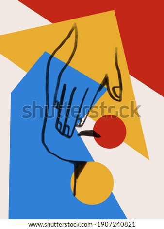 Colorful abstract neoplasticism and cubism art style With woman portrait line art. Painting with primary color in Mondrian style with abstract people. For art product print and poster.