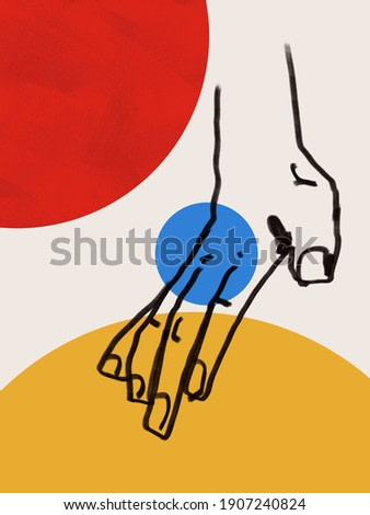 Colorful abstract neoplasticism and cubism art style With hand line art. Bauhaus Painting with primary color in Mondrian style with abstract people. For print and wall art.