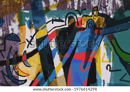 Colorful street art abstract modern expressionism, neoplasticism and cubism art style. Mix photo and Painting with primary color in Mondrian style with abstract people. For print and wall art.