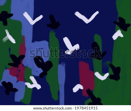 flower with blue and green purple with birds abstract painting art. Fauvism expressionism Art style with late modernism art. for print and wall art decoration.