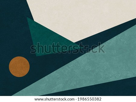 Geometrical art with triangle and circle shapes. Dark color modern artwork in bauhaus, cubism and scandinavian style. Printable illustration.